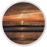 Round Beach Towel featuring the photograph A Burnished Sunrise by John M Bailey