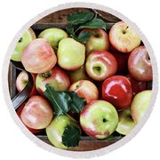 A Bushel Of Apples  Round Beach Towel by Stephanie Frey
