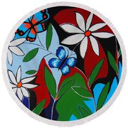 Round Beach Towel featuring the painting A Butterflies Paradise by Kathleen Sartoris