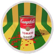 A Can Of Tomato Soup Round Beach Towel