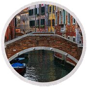A Canal In Venice Round Beach Towel by Tom Prendergast