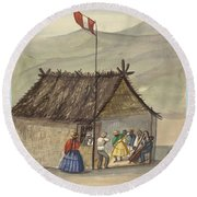 A Cane Rancho Or Hut Erected For The Purpose Of Dancing Lima Costumes, Ca. 1853 ,fierro, Pancho,  Round Beach Towel
