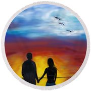 Round Beach Towel featuring the painting A Captivating Love by Leslie Allen