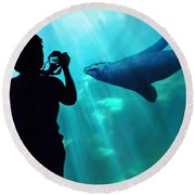 A Captured Moment  Round Beach Towel by Jennie Breeze