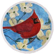Round Beach Towel featuring the painting A Cardinal Spring by Angela Davies