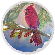 A Cardinal's Sweet And Savory Song Of Winter Thawing Painting Round Beach Towel