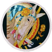 A Carousel Horse Round Beach Towel by Rand Swift