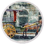 A Carriage In Intramuros, Manila Round Beach Towel