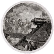 A Casemate During The Bombardment At The Battle Of Fort Sumter, 1861 Round Beach Towel