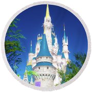 Round Beach Towel featuring the photograph A Castle In The Forest by Mark Andrew Thomas