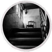 A Chair At The Top Of The Stairway Bw Round Beach Towel by RicardMN Photography