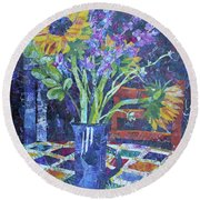 A Chair To View Sunflowers Round Beach Towel