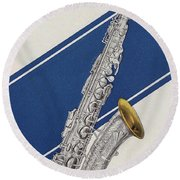 A Charles Gerard Conn Eb Alto Saxophone Round Beach Towel by American School