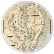 Round Beach Towel featuring the painting A Chart Of The Chesapeake And Delaware Bays 1862 by Celestial Images