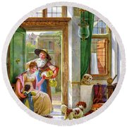 A Cherry Seller At The Door, 1816 Round Beach Towel