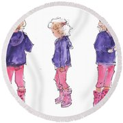 A Childs Pose Round Beach Towel