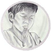 A Child's Prayer Round Beach Towel by John Keaton