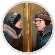 A Christmas Story Tongue Stuck To Pole Round Beach Towel