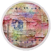 Round Beach Towel featuring the mixed media A City Besieged by Paula Ayers