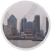 A City On A Hill Round Beach Towel