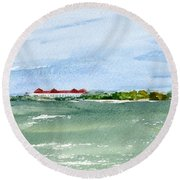 A Clear Day At Cape May Point  Round Beach Towel