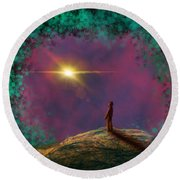 Round Beach Towel featuring the digital art A Clearing by Jason Hanson