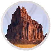 A Close Up Of Shiprock In New Mexico Round Beach Towel
