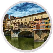 A Closer Look To Ponte Vecchio Round Beach Towel