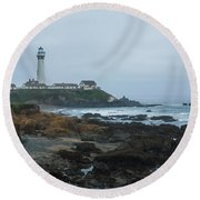 A Cloudy Day At Pigeon Point Round Beach Towel
