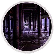A Cloudy Day Under The Pier Round Beach Towel