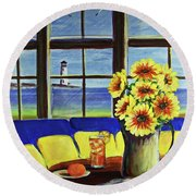 A Coastal Window Lighthouse View Round Beach Towel