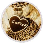 A Coffeehouse Romance Round Beach Towel