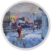 A Cold Afternoon In Tonawanda Round Beach Towel