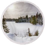 A Cold Algonquin Winters Days  Round Beach Towel