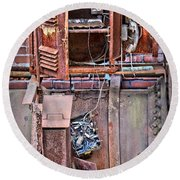 Round Beach Towel featuring the photograph A Collaboration Of Rust by DJ Florek