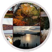 A Collage Of Autumn Round Beach Towel by Kay Novy