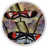 Round Beach Towel featuring the painting A Colorful Couple by Sam Sidders