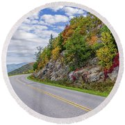 Round Beach Towel featuring the photograph A Colorful Curve On Skyline Drive by Lori Coleman