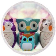 A Colourful Parliament Of Owls Round Beach Towel