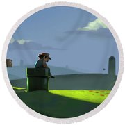 A Contemplative Plumber Round Beach Towel by Michael Myers