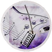 A Cool Purple Guitar Round Beach Towel