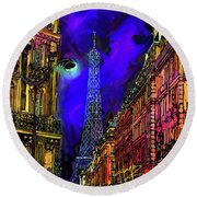 A Corner In Paris Round Beach Towel by DC Langer