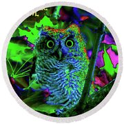 A Cosmic Owl In A Psychedelic Forest Round Beach Towel