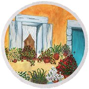 A Cottage In The Village Round Beach Towel by Patricia Griffin Brett