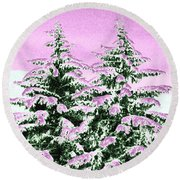 A Cotton Candy Winter Round Beach Towel