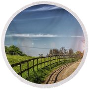 A Country Lane Round Beach Towel