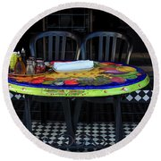 A Cozy Table For Two Round Beach Towel