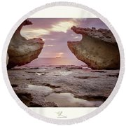A Crab Stone, By The Cosmic Joker Round Beach Towel
