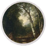 A Creek In The Woods Round Beach Towel