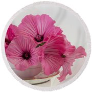 A Cup Of Pink Lavatera Flowers Round Beach Towel by Sandra Foster